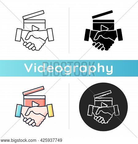 Business To Business Videos Icon. B2b Service In Filmmaking Industry. Shooting Professional Content