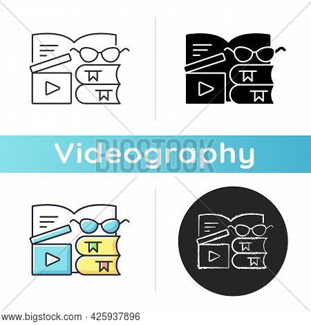 Book Review Videos Icon. Shooting Content For Literature Vlog. E Book Online. Filmmaking For Literar