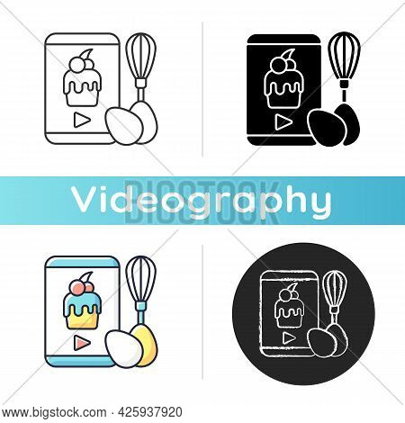 Cooking Video Icon. Culinary Courses Online. Cookery School For Learning Remotely. Preparing Food On