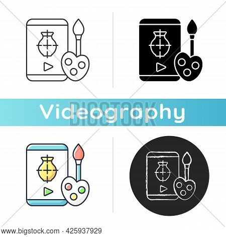 Drawing Tutorials Icon. Art Class. E Learning For Painting. School For Studying Painting Remotely. I