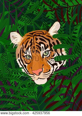 Vector Illustration Of A Realistic Tiger Head Looking From Jungle Leaves. International Tiger Day. A