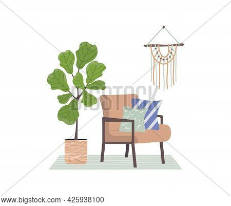 Trendy Armchair With Cushions And A Plant. Retro Style Furniture. Scandinavian Style Interior. Macra