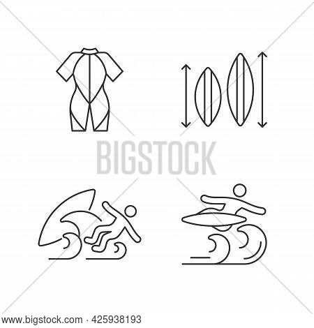 Surf Riding Linear Icons Set. Wetsuit. Choosing Surfboard Size. Surf Wipeout. Flight Maneuver. Custo