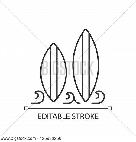 Surfboard Linear Icon. Long, Narrow Board For Surfing Sport Usage. Recreational Activity. Thin Line