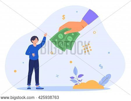 Concept Of Obtaining A Universal Basic Income. The Hand Extends Money To A Happy Man. Blue Backgroun