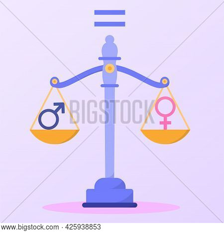 Concept Of Gender Equality. Scales With Two Bowls. Masculine And Feminine Principles Balance Each Ot