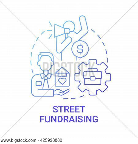 Street Fundraising Concept Icon. Charity Event Abstract Idea Thin Line Illustration. Raising Funds F