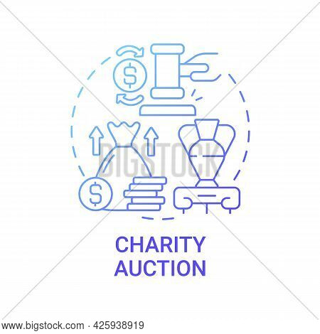 Charity Auction Concept Icon. Fundraising Event Abstract Idea Thin Line Illustration. Bid On Unique