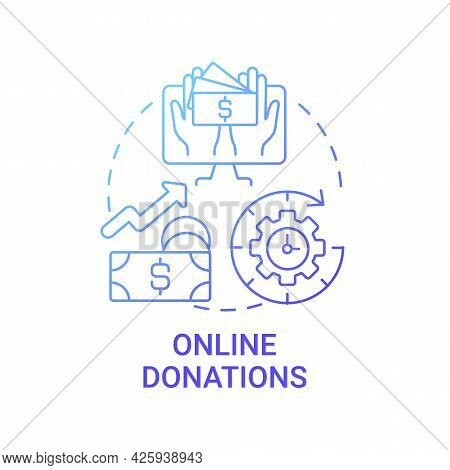 Online Donations Concept Icon. Fundraising Event Abstract Idea Thin Line Illustration. Increasing No