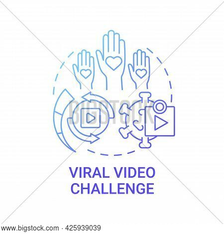 Viral Video Challenge Concept Icon. Fundraising Appeal Abstract Idea Thin Line Illustration. Popular
