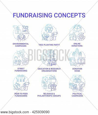Fundraising Concept Icons Set. Gather Financial Support Idea Thin Line Color Illustrations. Politica
