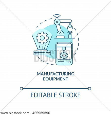 Manufacturing Equipment Concept Icon. Digital Twin Application By Industry. Modern Equipment Abstrac