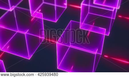 Connection Structure Of Many Neon Cubes. Computer Generated Abstract Isometric Background, 3d Render