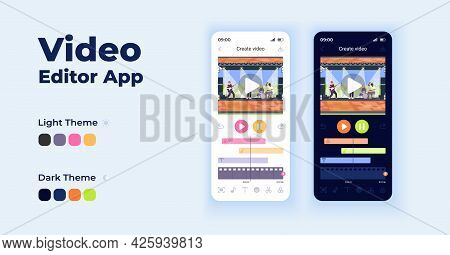 Video Editor Cartoon Smartphone Interface Vector Templates Set. Mobile App Screen Page Night And Day