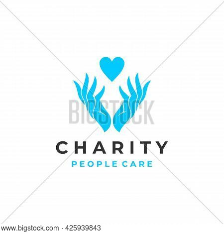 Heart And Hands For Charity And Donation, Voluntary And Nonprofit Organization Logo Design Vector Il