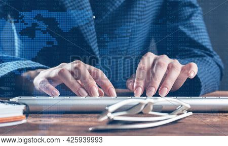 Close Up Woman Hands Lying On Laptop Keyboard. Business Lady Working With Computer At Wooden Desk. F