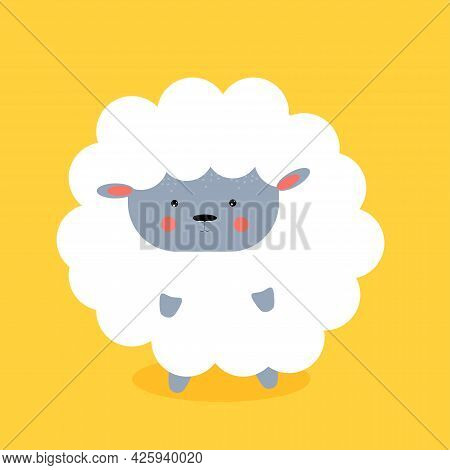 Сute Lamb On Yellow Background. Vector Illustration.