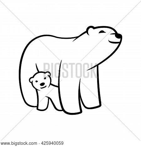Polar White Bear Cub Mother Smiling Vector Illustration