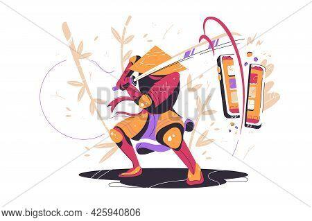 Japanese Samurai In Battle With Sword Vector Illustration. Asian Warrior With Katana Cut Smartphone