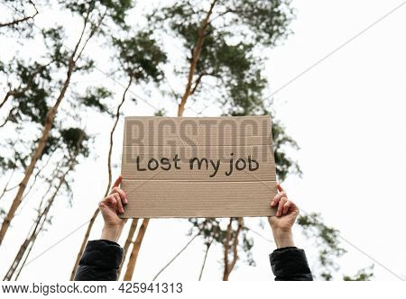 Female Hands Holding Cardboard With Text Lost My Job Outdoors. Nature Background. Protester Activist