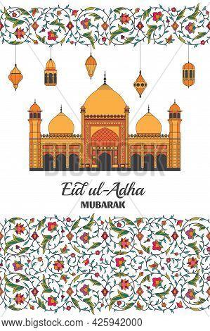 Eid Al Adha Background. Islamic Arabic Mosque, Lanterns. Arabesque Floral Pattern. Branches With Flo