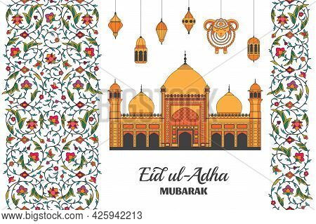 Eid Al Adha Background. Islamic Arabic Mosque, Lanterns And Sheep. Arabesque Floral Pattern. Branche
