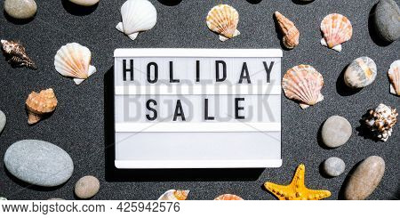 Lightbox With Text Holiday Sale, Summer Decorations Sale Shopping Concept. Mockup Summer Promotion A