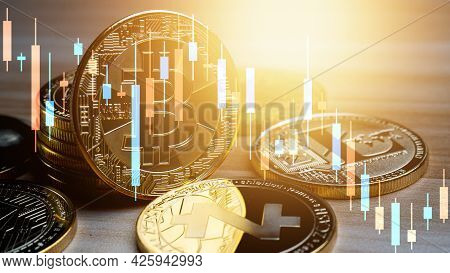 Business Bitcoin With Graph Chart On Wood Table, Cryptocurrency