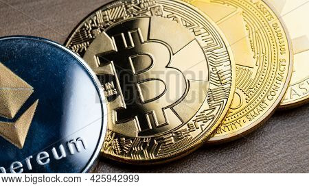 Business Silver And Gold Bitcoin On Wood Table