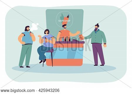 Modern Vape Store Counter Flat Vector Illustration. Vape Showcase, Seller And Smokers Buying Liquid