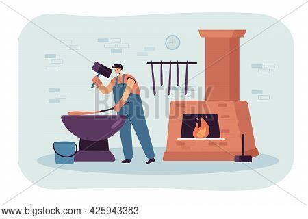 Blacksmith Forging Hot Metal Tools. Flat Vector Illustration. Man In Overalls Working With Heavy Sle