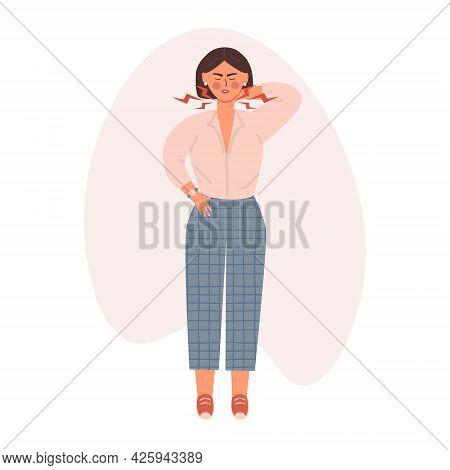 Unhappy Girl Suffering From Neck Pain. Woman Feeling Muscle Or Joint Injury. Vector Illustratin In T