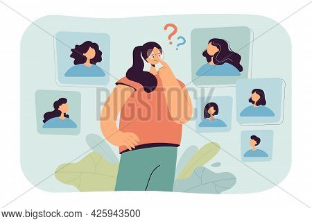 Young Woman Making Decision About Her Hairstyle. Flat Vector Illustration. Girl Choosing Type Of Hai