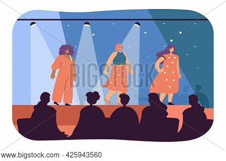 Female Models Participating In Fashion Show. Flat Vector Illustration. Women Walking Stage, Runway,