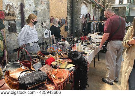 Lviv, Ukraine - May 16, 2021 : People Wearing Face Masks Shopping On Garage Sale In Lem Station. Hip