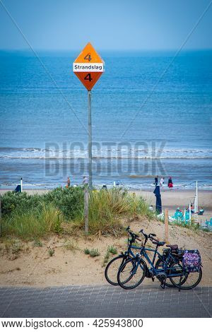 26 June 2021, The Hague, Netherlands, Metal Post With Sign Showing Bathing Area No.4 Or Strandslag,
