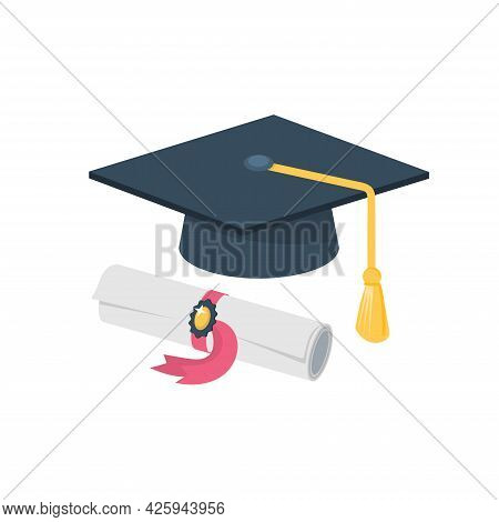 Vector Graduation Cap And Rolled Diploma. Degree Ceremony And Educational Programs Design Elements.