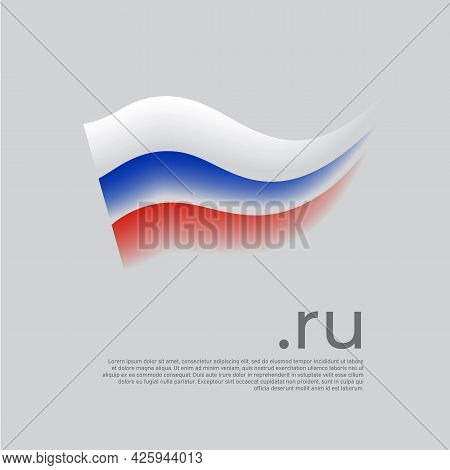 Flag Of Russia. Colored Stripes Of The Russian Flag On A White Background. Vector Stylized Design Na