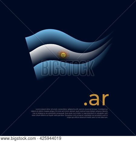 Argentina Flag. Stripes Colors Of The Argentinian Flag On A Dark Background. Vector Stylized Design