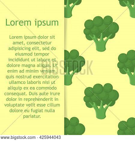 Broccoli Vegetables Seamless Pattern On Green Background, Green Broccoli Ingredients Food.