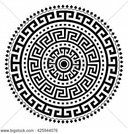 Greek Vector Ancient Vase Mandala Design With Key Pattern, Geometric Black Boho Pattern In Black On