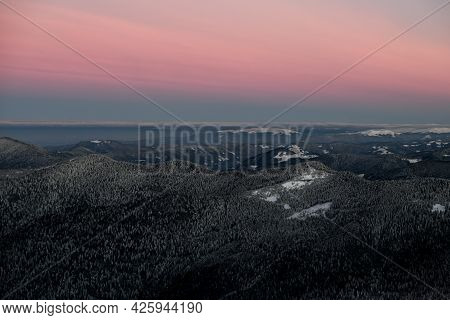 High Angle View Of Beautiful Landscape With Magnificent Sky And Mountains