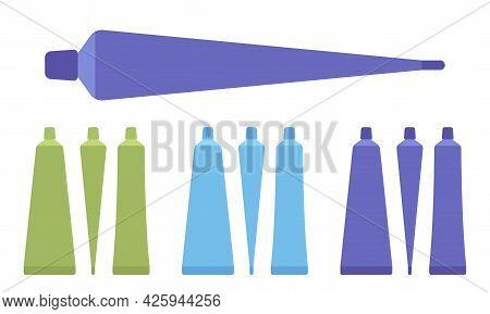 Plastic Cosmetic Tube, Toothpaste Bottle Empty Green, Blue, Dark Set. Small Cap Makeup Cream Storage