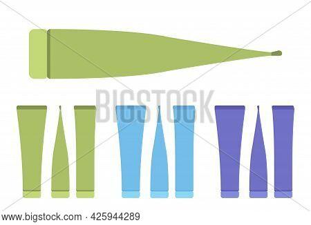 Plastic Cosmetic Tube, Toothpaste Bottle Empty Green, Blue, Dark Set. Large Cap Makeup Cream Storage