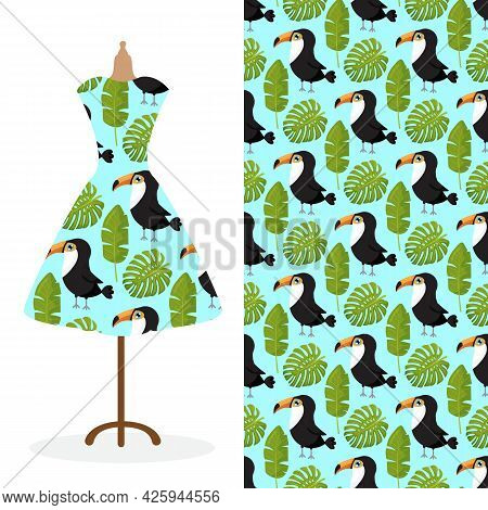 Womens Long Dress Mock Up With Bright Seamless Hand Drawn Pattern For Textile, Paper Print.