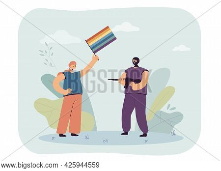 Criminal With Gun Threatening Woman Holding Rainbow Flag. Man With Weapon Wearing Mask Flat Vector I