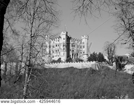 Hohenschwangau Built By King Maximilian Ii Of Bavaria, Located Near The Town Of Fussen, Historic Pla