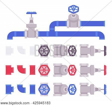 Piping And Plumbing Fittings, Tube Joints, Pipe Sections Set. White, Red, Blue Pipeline System. Vect