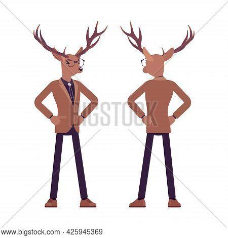 Deer Man, Elegant Mister Moose, Animal Head Stylish Human Standing. Dressed Up Gentleman Having Larg
