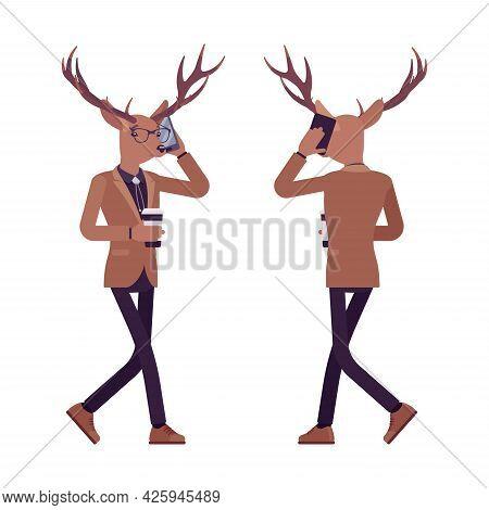 Deer Man, Mister Moose, Animal Head Human Walking With Smartphone. Dressed Up Gentleman Having Large